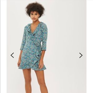 TOPSHOP floral wrap dress